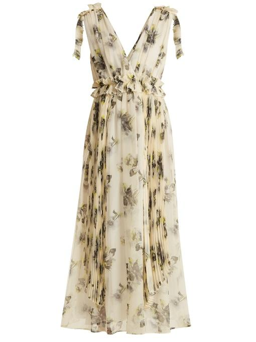 Msgm Floral-Print Silk-Chiffon Midi Dress In White Multi