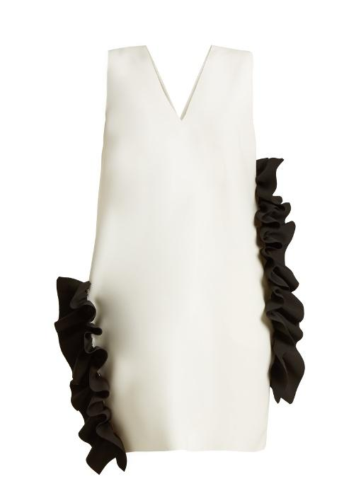 Msgm Ruffled Stretch-Crepe Dress In White