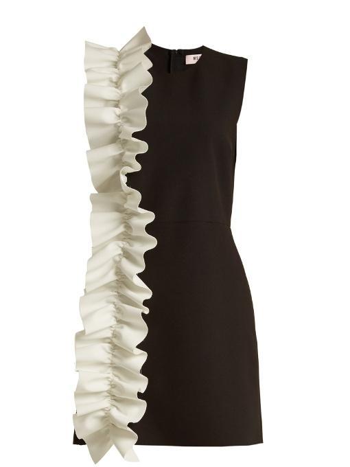 Msgm Black Contrast Ruffle Shift Dress In Black White