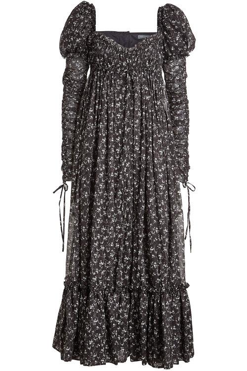 Alexander Mcqueen Printed Cotton Dress In Florals