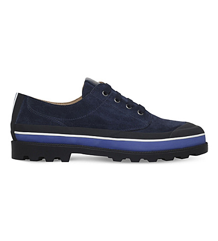 Valentino Id Suede Low-Top Sneakers In Navy