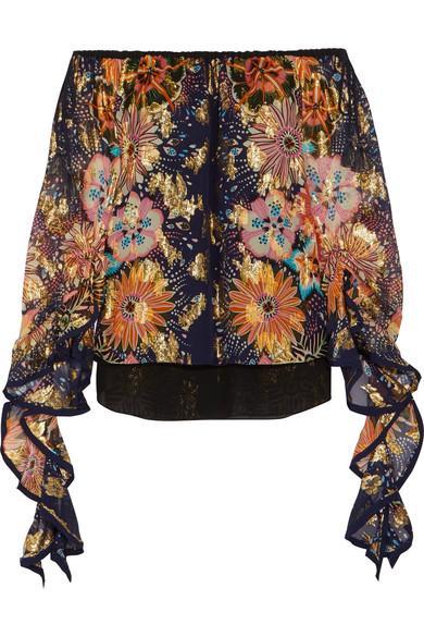 ChloÉ Off-The-Shoulder Floral-Print Fil CoupÉ Silk Blouse