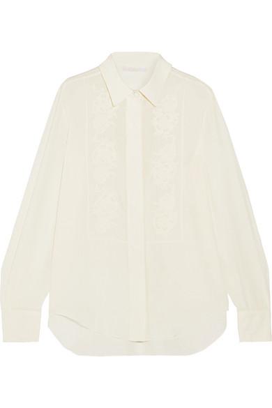 ChloÉ Embroidered Silk Crepe De Chine Shirt