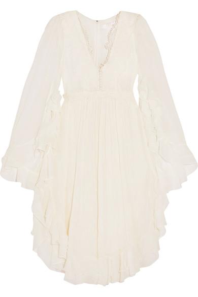 ChloÉ Ruffled Crocheted Lace-Paneled Silk-Crepon Dress