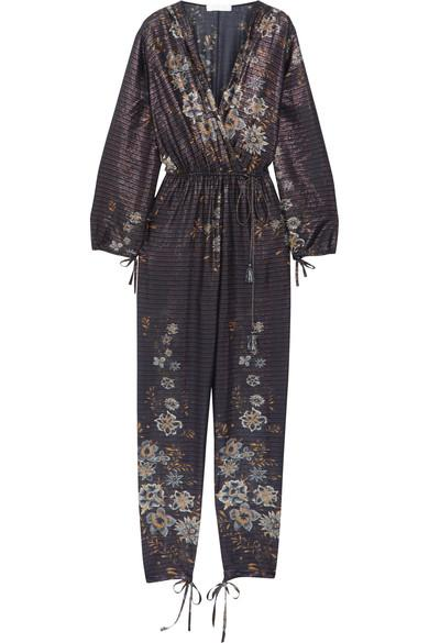 ChloÉ Metallic Striped Floral-Print Cotton-Blend Jumpsuit In Navy