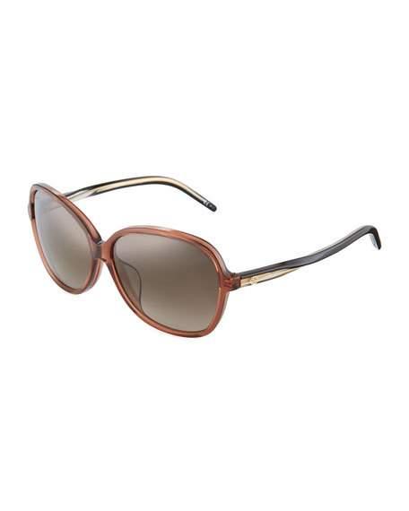Gucci Rectangle Twist Sunglasses In Brown/ Black