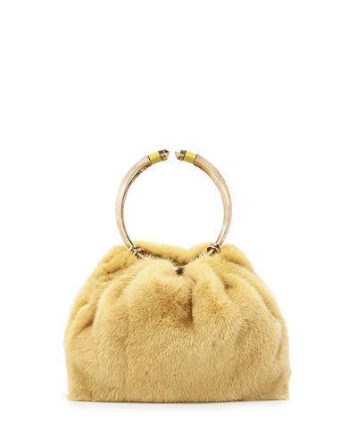 Valentino Bebop Loop Mink Fur Top-Handle Bag In Yellow