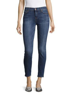 7 For All Mankind The Ankle Solid Skinny Jeans In Barrier Reef