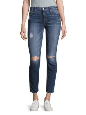 7 For All Mankind The Ankle Distressed Skinny Jeans In Bar Blue