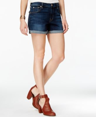 7 For All Mankind Roll Up Shorts In Santiago Canyon In Blue