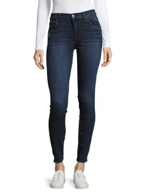 7 For All Mankind Solid Buttoned Jeans In Blue