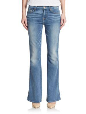 7 For All Mankind Whiskered Flare Jeans In Gleam Azure