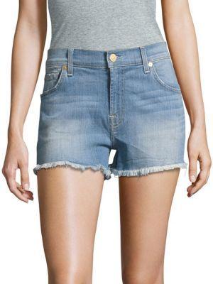 7 For All Mankind Cut-Off Denim Shorts In Light Oak Creek