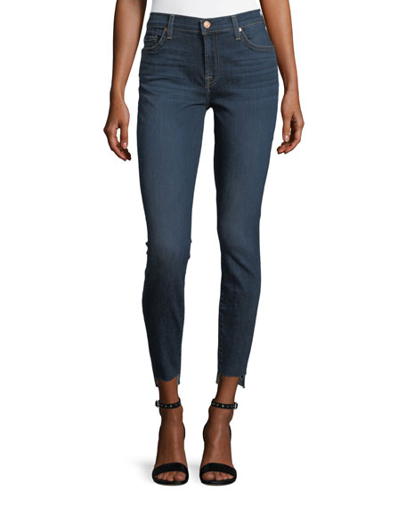 7 For All Mankind Ankle-Skinny Jeans With Split Released Hem, Blue