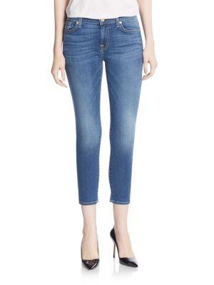 7 For All Mankind Gwenevere Cropped Skinny Jeans In Celeste
