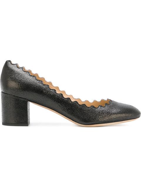 ChloÉ Women's Lauren Scalloped Leather Block-Heel Pumps In Black