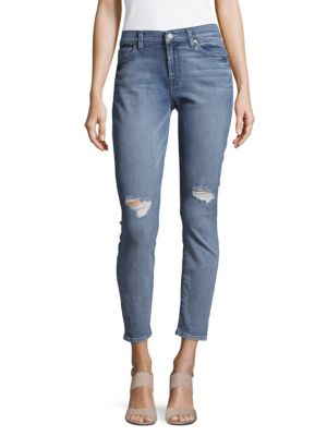 7 For All Mankind Cotton-Blend Distressed Ankle Jeans In Athentic