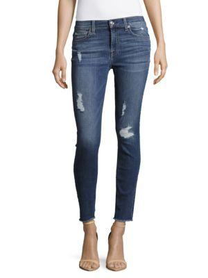 7 For All Mankind Frayed-Cuff Distressed Ankle Jeans In Elliesfth