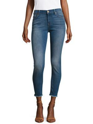 7 For All Mankind Ankle Gwenevere With Destroy Jeans In Blue Denim