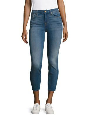 7 For All Mankind Karah Cropped Jeans In Blue Denim