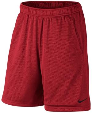 "Nike Men's 9"" Dri-Fit Mesh Training Shorts In University Red"