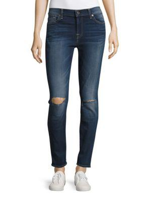 7 For All Mankind Whiskered Ankle Length Jeans In Blue