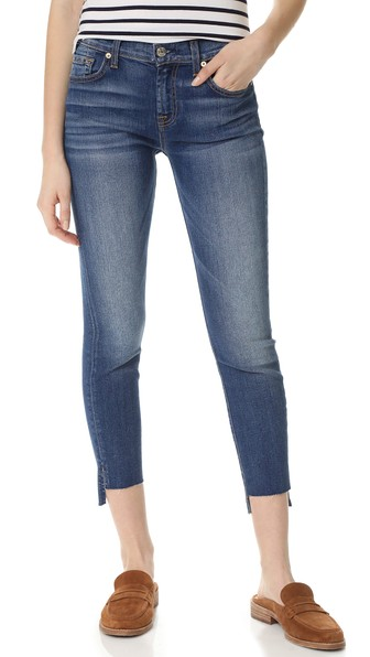7 For All Mankind Ankle Skinny Jeans With Step Hem In Distressed Authentic Light 3