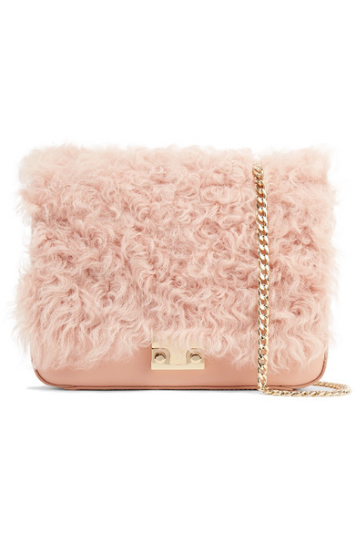 Loeffler Randall Shearling Front Flap Leather Cross-Body Bag In Pink