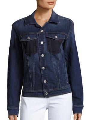 7 For All Mankind Denim Jacket W/ Shadow Pockets In Medium Shadow Blue In Medium Washed Blue