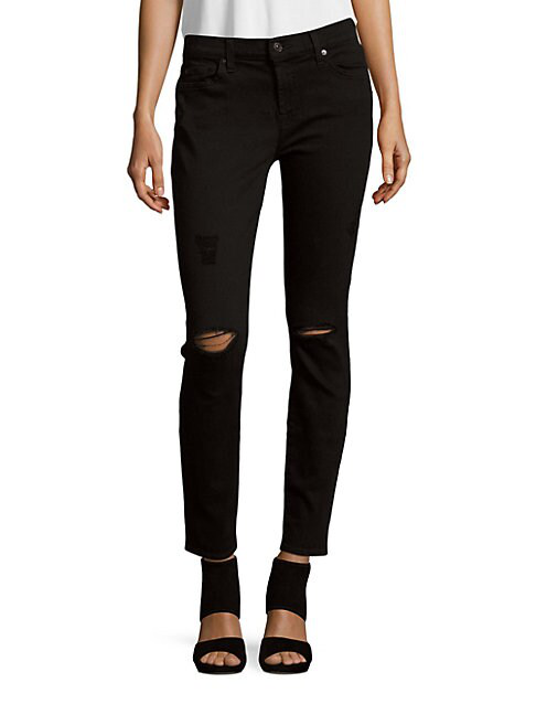 7 For All Mankind Gwenevere Solid Ankle-Length Jeans In Black