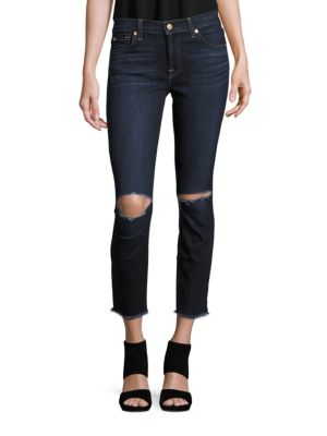 7 For All Mankind Gwenevere Cotton-Blend Cropped Jeans In Dark Blue Denim
