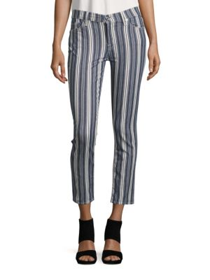 7 For All Mankind Slim Cigarette Striped Pants In Indigo Stripe