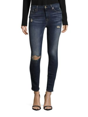 7 For All Mankind Gwenevere Distressed Skinny Jeans In Medium Blue