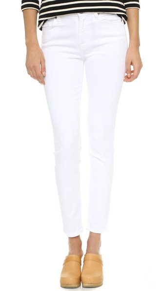 7 For All Mankind Step Hem Skinny Jeans In Clean White