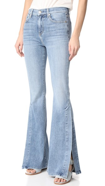 7 For All Mankind Ali Jeans With Split Seams In Gold Coast Waves