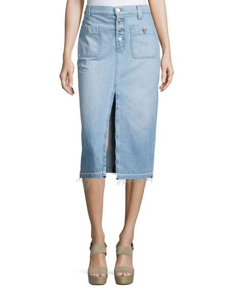 7 For All Mankind Exposed Button Long Skirt With Released Hem In Cool Cloudy Blue