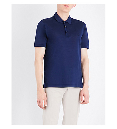 Brioni Logo-Embroidered Cotton-Mesh Polo Shirt In Navy