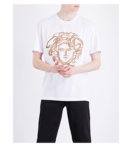 Versace Medusa-Print Cotton-Jersey T-Shirt In White
