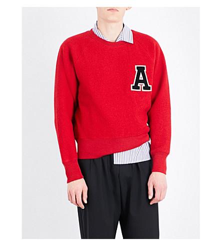 Ami Alexandre Mattiussi AppliquÉ Letter Wool Sweatshirt In Red