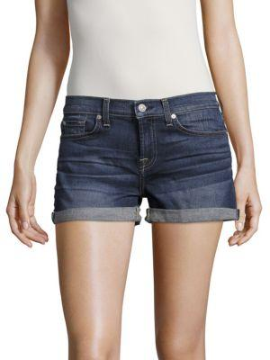 7 For All Mankind Whiskered Denim Shorts In Madison