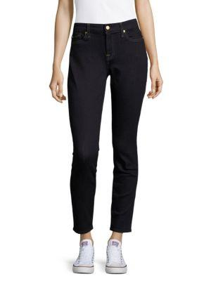 7 For All Mankind Washed Five-Pocket Jeans In Dark Rinse