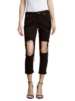 7 For All Mankind Josefina Distressed Boyfriend Jeans In Black