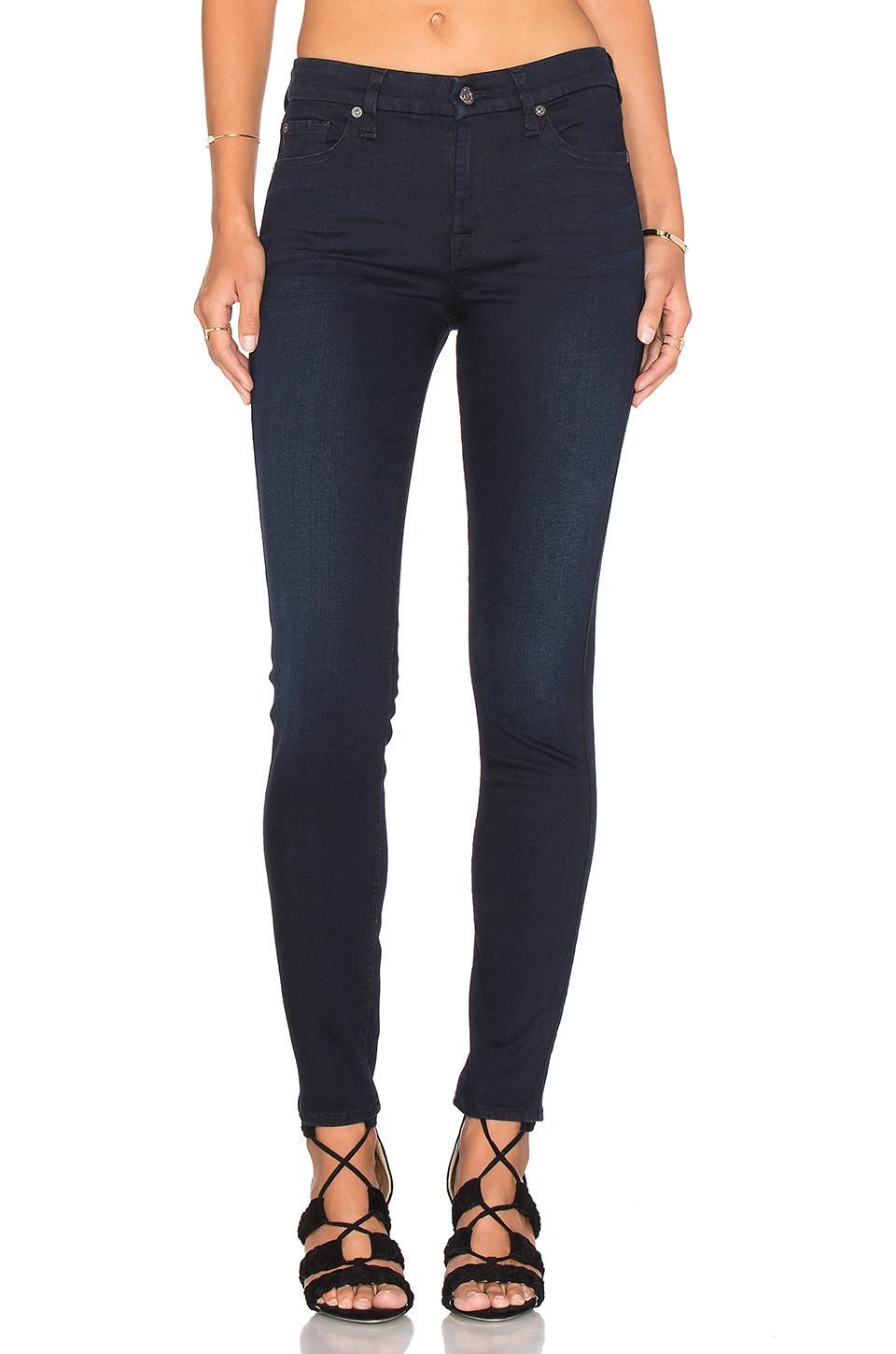 7 For All Mankind The Squiggle Tonal Skinny In Blue Black River Tham