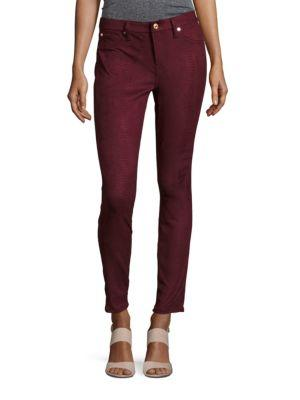 7 For All Mankind Gwenevere Snakeskin Ankle Jeans In Merlot