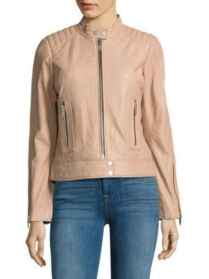 7 For All Mankind Leather Moto Jacket In Nude Pink