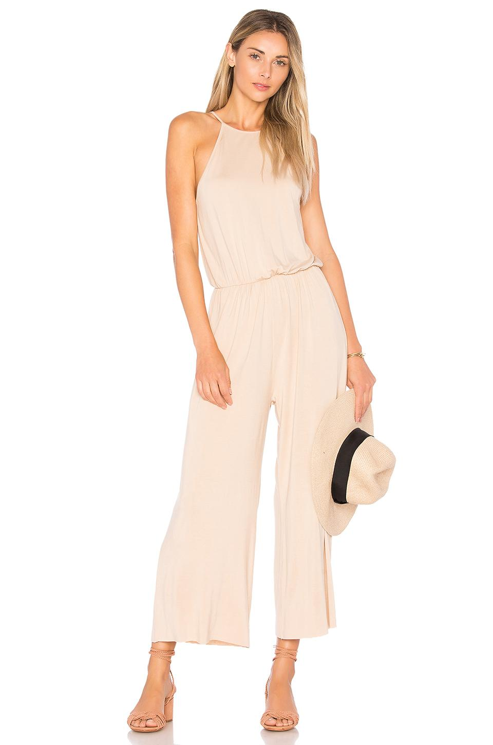Clayton Marley Cropped Jumpsuit In Beige