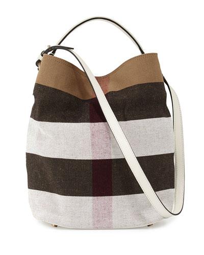 507d6460b4 Burberry 'Medium Susanna - Mega Check' Jute & Cotton Bucket Bag In ...