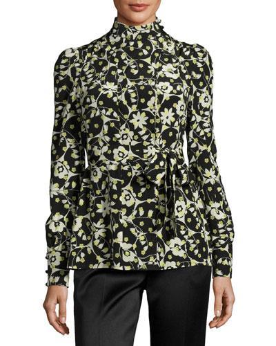 Valentino Long-Sleeve Floral-Print Silk Turtleneck, Black Pattern