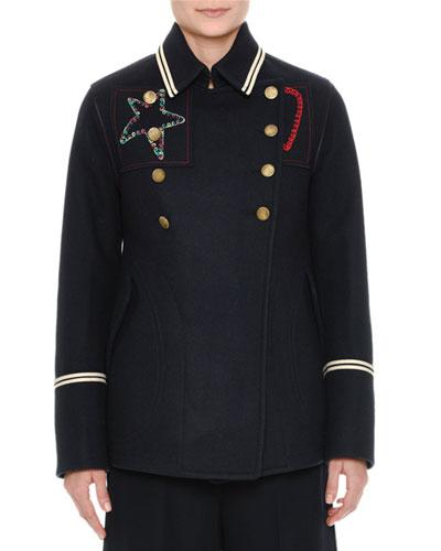 Valentino Embroidered Double-Breasted Wool Pea Coat In Navy