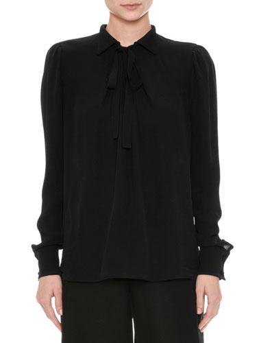 Valentino Long-Sleeve Georgette Blouse, Black In Pink Pattern